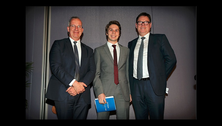Dr Michael Spence, Bradfield winner Caleb and Steve McCann